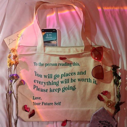 """""""You Will Go Places"""" Eco- Friendly Tote Bag (With Zipper and SPACIOUS)"""