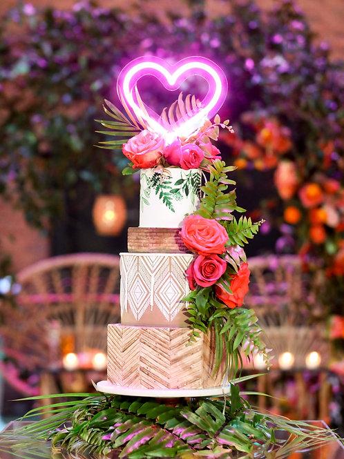 Neon Heart Cake Topper