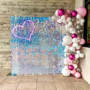 Iridescent Shimmerwall with Balloon Garland