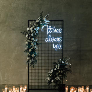 Grid wall with custom florals