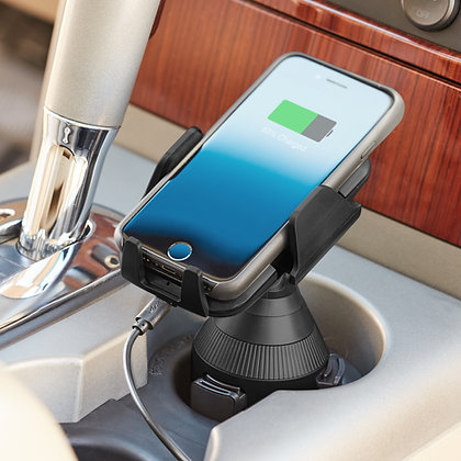 onn. Cup Holder Phone Mount with Wireless Charger swivel.