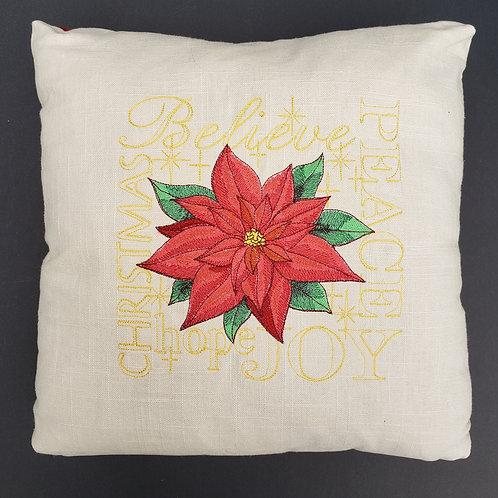 Poinsettia Word Art Pillow