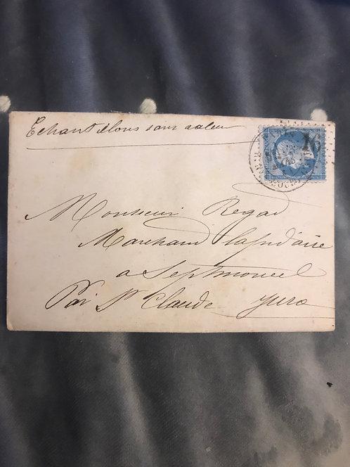 Lettre Regad fils lapidaire 1864