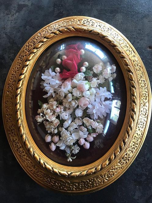 Cadre ovale bombé fleur 37x30 cm ref 3489
