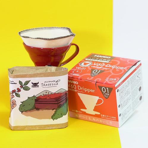 Combo • Hario V60 01 (Filtro + Suporte + Café)