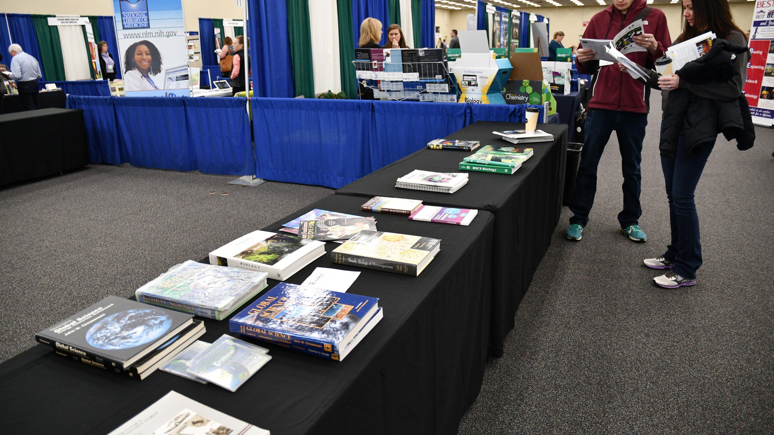 Textbooks on display