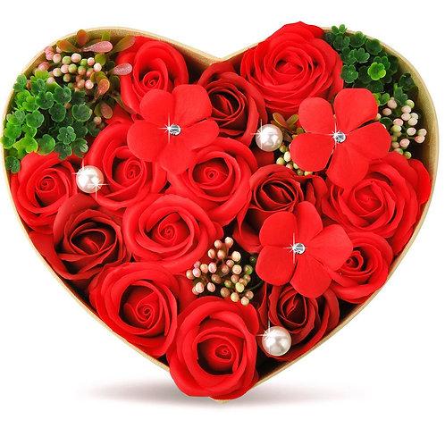 ソープフラワー ボックス ソープフラワーギフト 花 バラ ハートBOX・Lサイズ 誕生日 プレゼント 母 女性 女友達 彼女 結婚祝い お祝い ギフト 退職