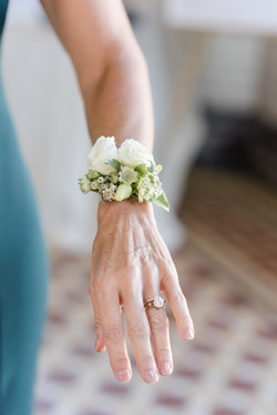 White Floral & Greenery Corsage