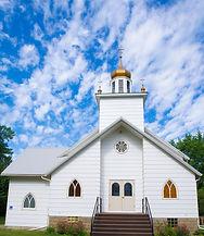 picture of te outside of Saint Demetrius Ukrainian Catholic Church in Fairfield, North Dakota