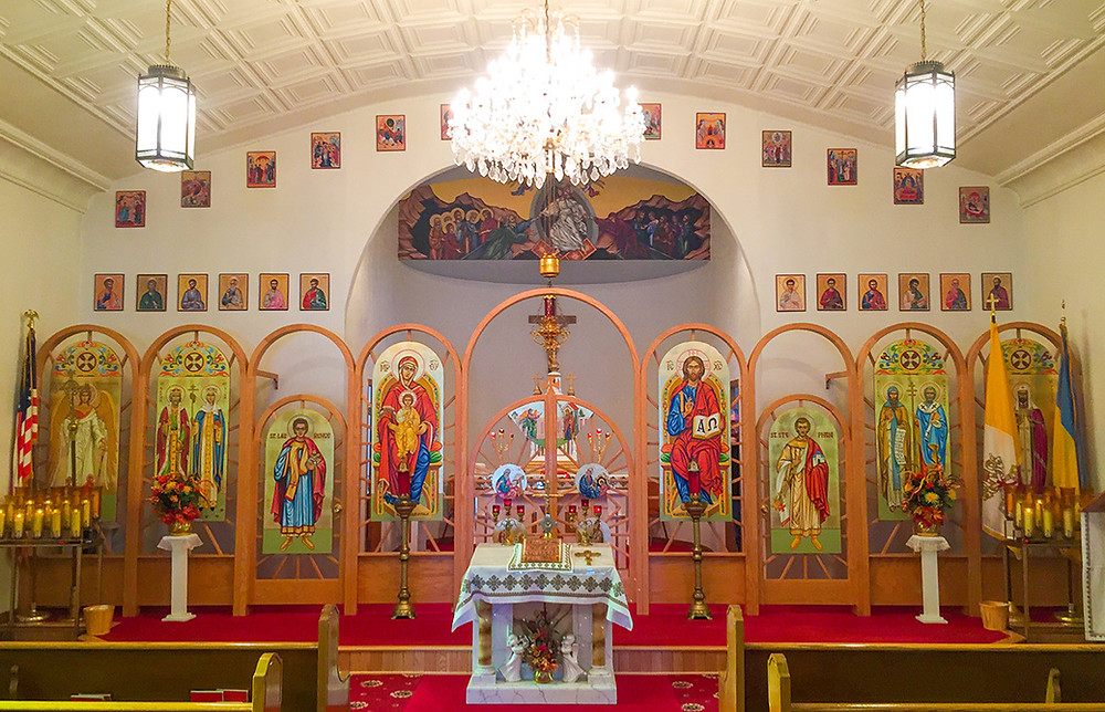 this is the iconostas of St. Demetrius Ukrainian Catholic Church in Fairfield, North Dakota
