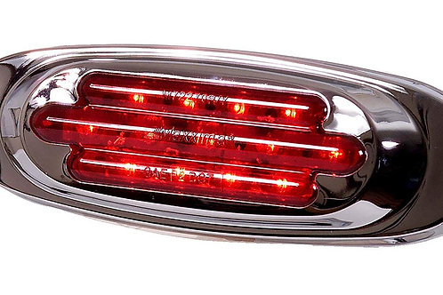 Maxxima M72270R 13 LED Red Oval Clearance Marker Light with Chrome Stainless Ste