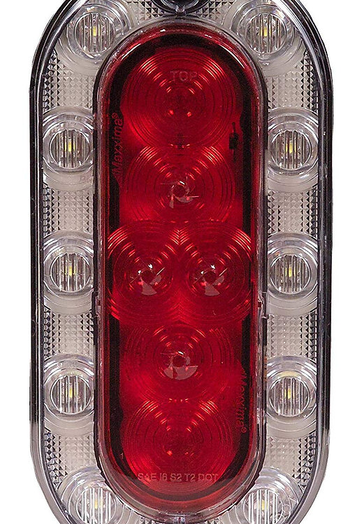 Maxxima M85615R Hybrid Series Red/White Oval LED Stop/Tail/Rear Turn and Back-Up