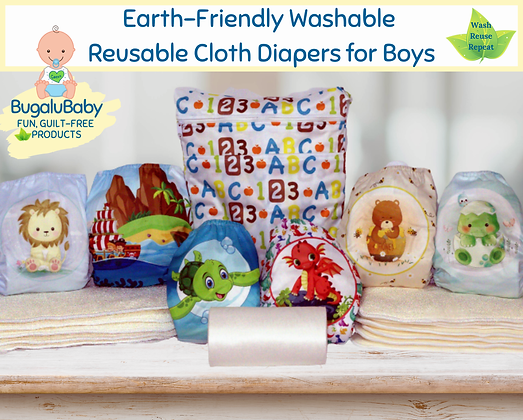 Earth-Friendly Washable and Reusable Cloth Pocket Diapers for Boys