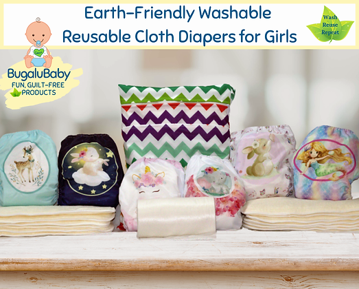 Earth-Friendly Washable and Reusable Cloth Pocket Diapers for Girls