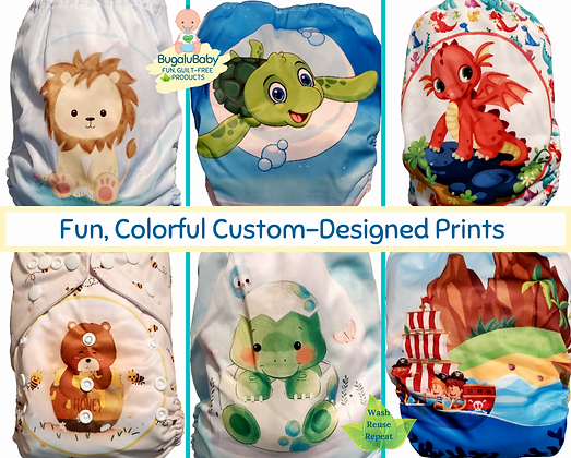 Earth-Friendly Washable and Reusable Cloth Diaper with Bamboo Insert for Boys