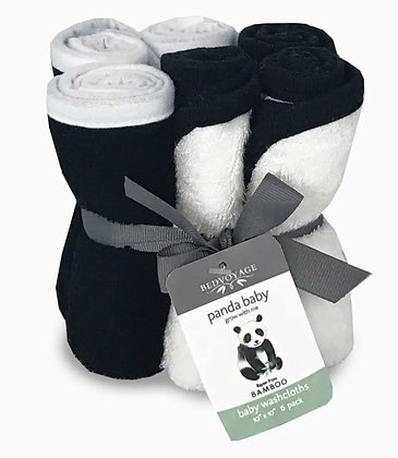 Panda Baby Bamboo Washcloths - Rayon from Bamboo - 6 Pack