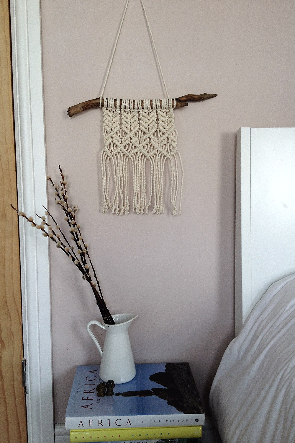 interior with macrame on the wall