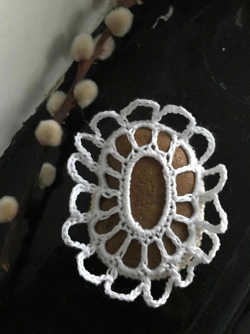 stone crochet on my fireplace