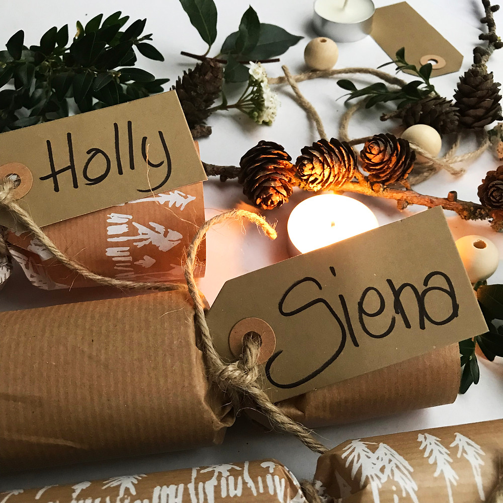 Christmas Crackers with handwritten name tag