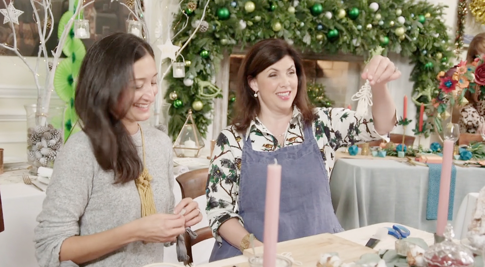 Isabella & Kirstie Allsopp with the final macrame Christmas tree