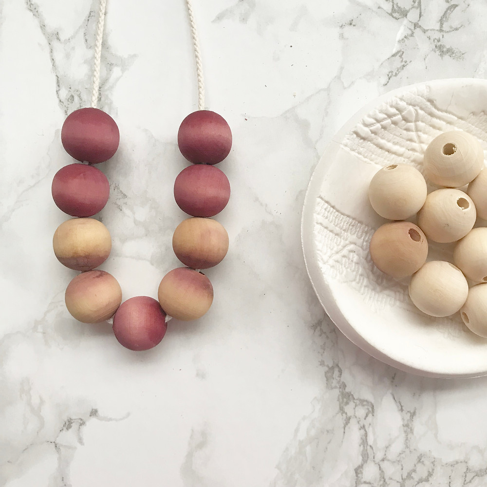 necklace made from natural dyed wooden beads