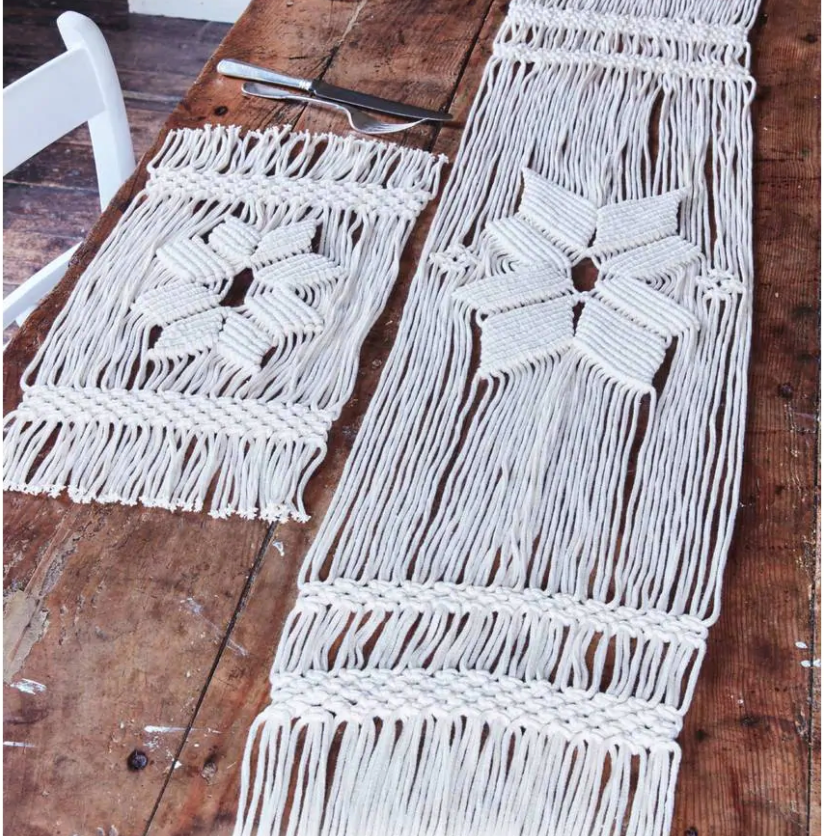 Macrame Christmas table runner and placemat