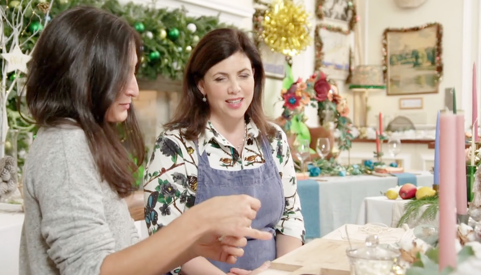 Isabella from TwoMe teaching Kirstie Allsopp how to make a macrame Christmas tree