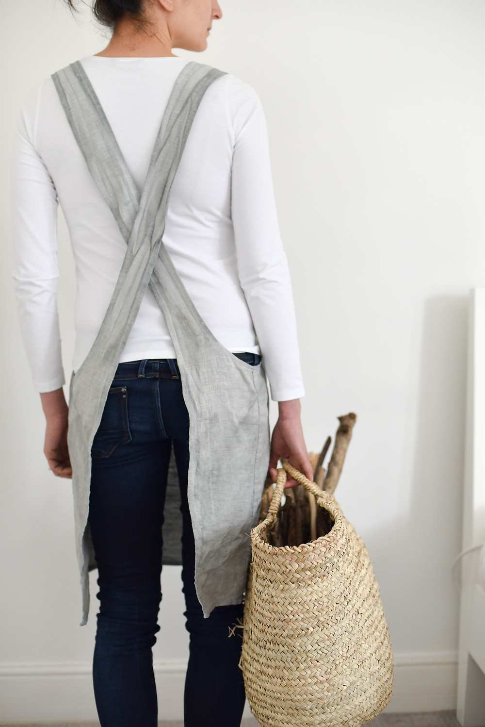 Naturally dyed linen apron in light blue