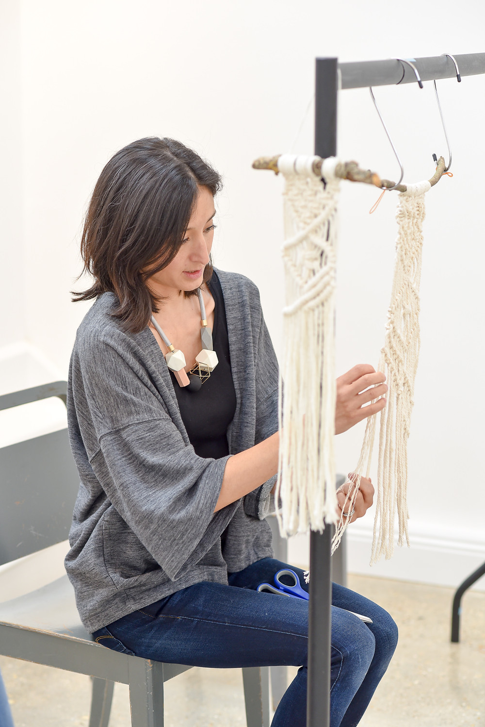 Myself teaching macrame at one of my workshops