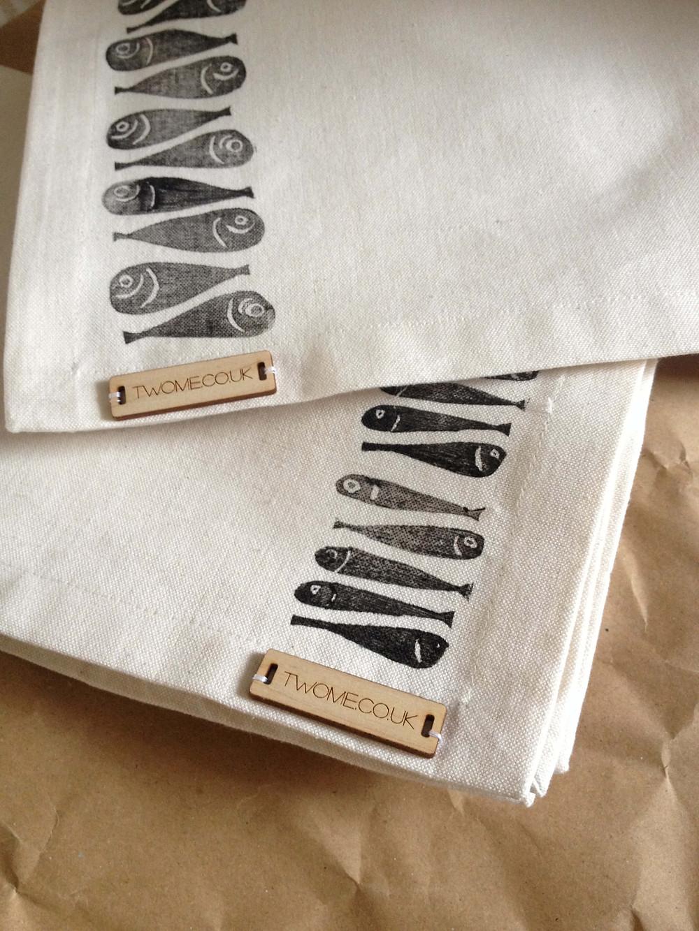tea towels with block printed fish
