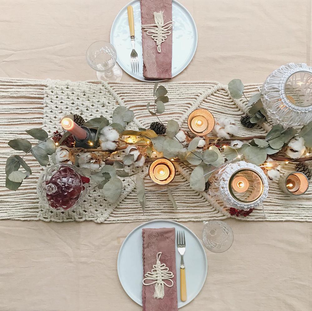 Kirstie's Handmade Christmas Bohemian Christmas Table Setting top