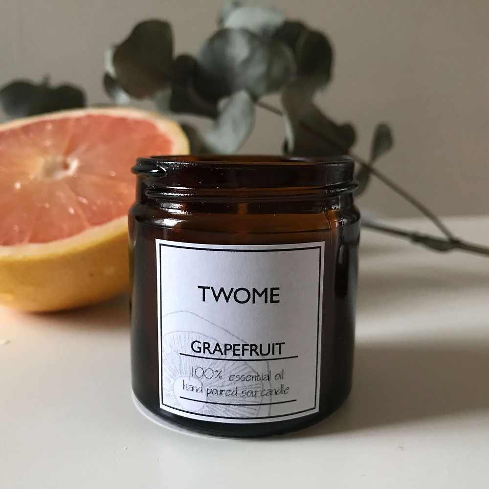 grapefruit soy candle hand poured