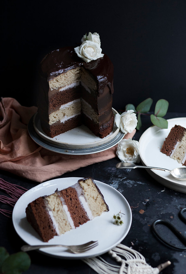 a natural dyed cloth and a vegan cake