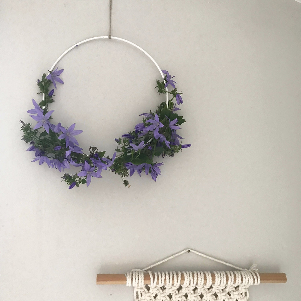 purple flowers wreath