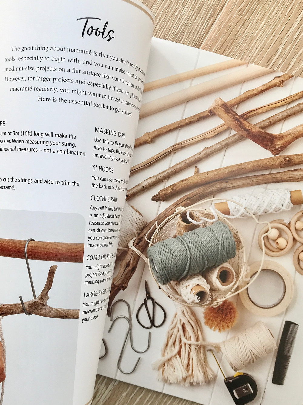 Tools page from the book Macrame for the modern home