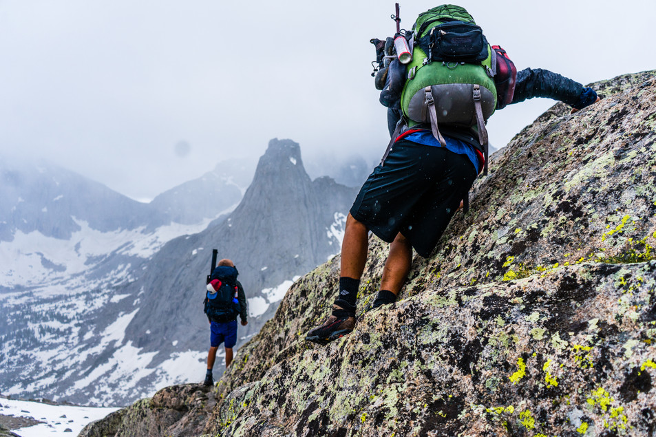 Scrambling into the Cirque of the Towers, Wyoming