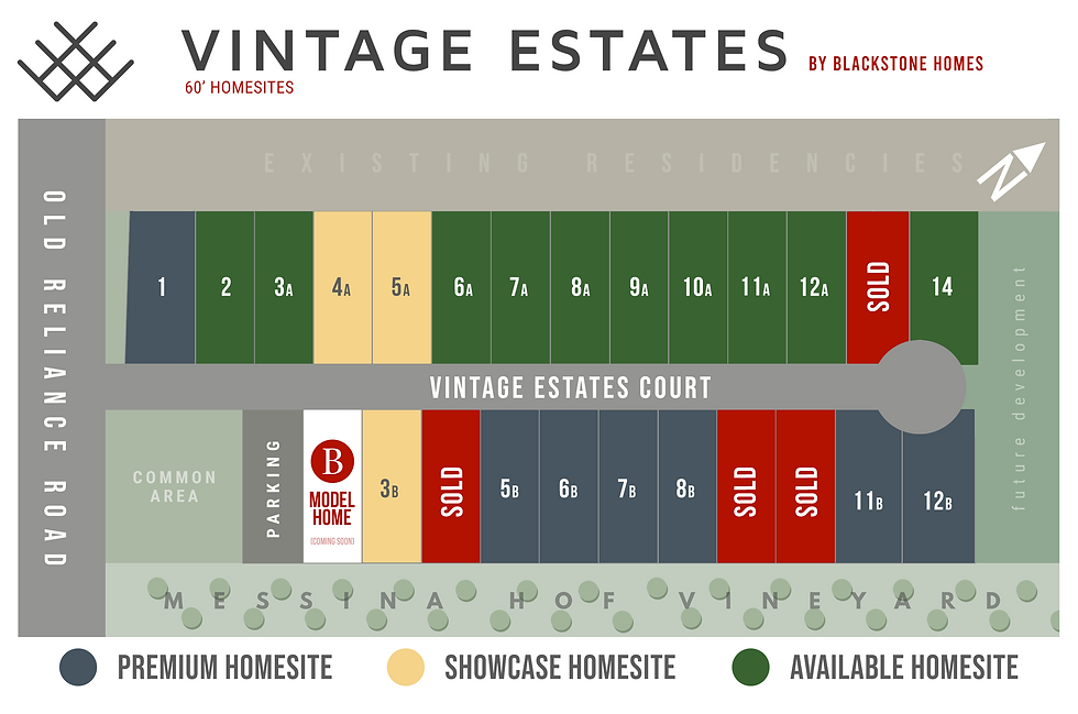 Vintage Estates - Available Homesite Map