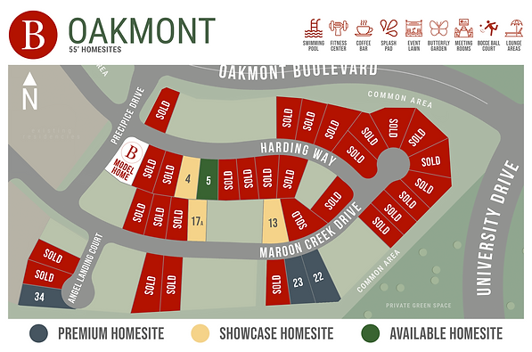 Oakmont 55s - Available Homesite Map - A