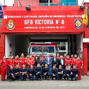 Visit to the British Fire Brigade Victoria 8, Lima, Peru.