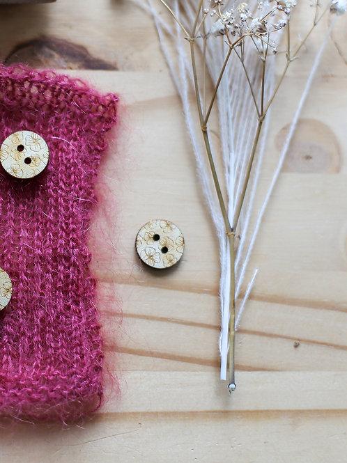 Bouton en bois motif Hibiscus