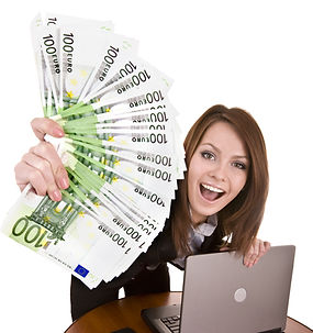 Businesswomen with group of money and la