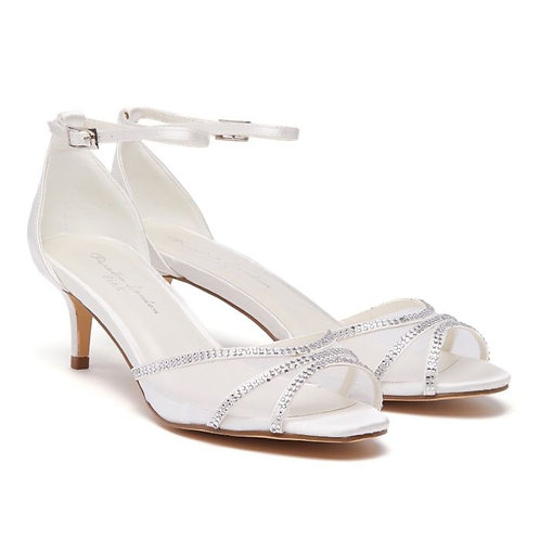 Extra Wide Fit Ivory Satin Mid Heel Ankle Strap Sandals