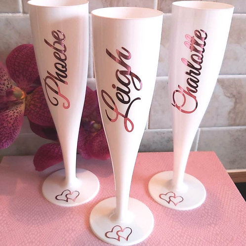 Personalised White Prosecco Champagne Flutes