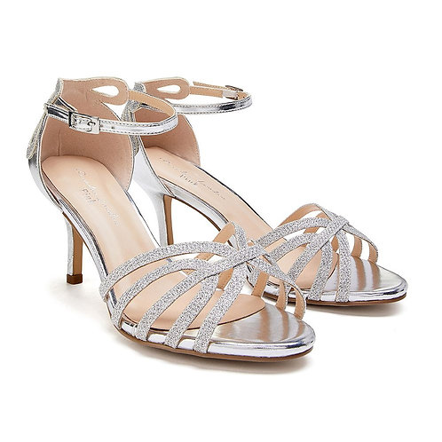 Wide Fit - Silver Low Heel Sandal