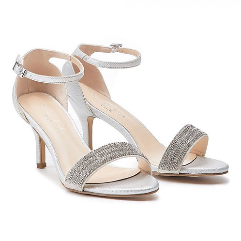 Wide Fit Silver Low Heel Barely There Sandal