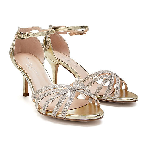Wide Fit - Champagne Low Heel Sandal