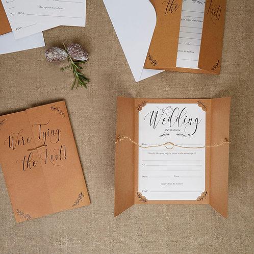 Pack of 10 ¦ Hearts & Krafts Wedding Invitation & Envelope
