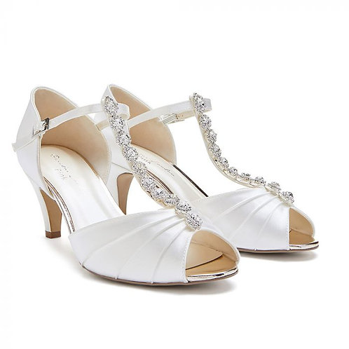 Wide Fit Dyeable Ivory Low Heel T-Bar Peep Toe
