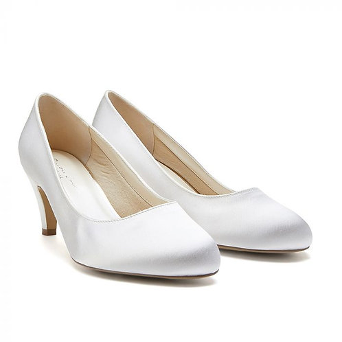 Dyeable Wide Fit Ivory Low Heel Classic Court Shoe