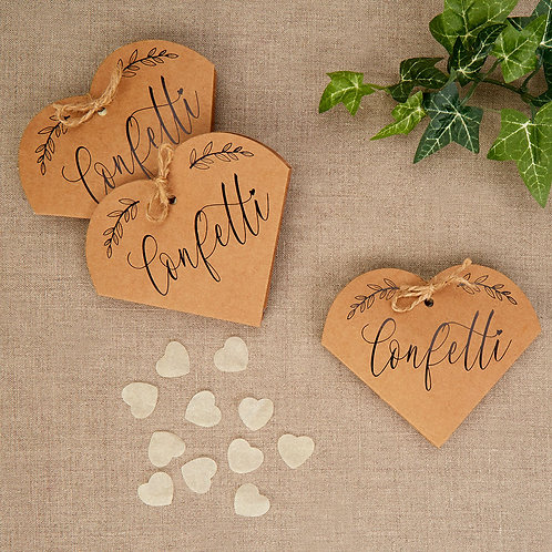 Pack of 10 ¦ Heart-shaped confetti boxes ¦ Filled with ivory confetti